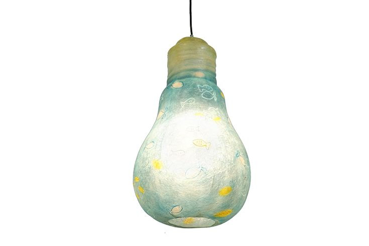 Blue Fish Lightbulb - hanging lamp  Hanging lamp made of fiberglass, in the shape of a light bulb  Fiberglass material is robust and lightweight  Dimensions: 52 x 30 cm  It has a hole at the bottom for changing the light bulb