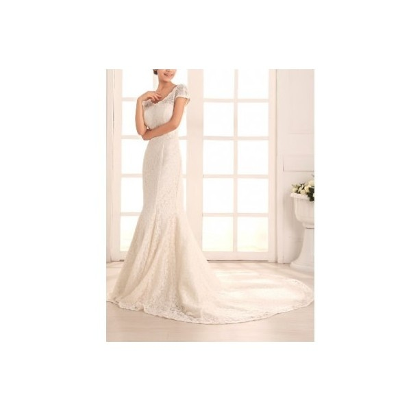 All Lace Over A-Line Gown V-Neckline With Zipper Back Style... via Polyvore