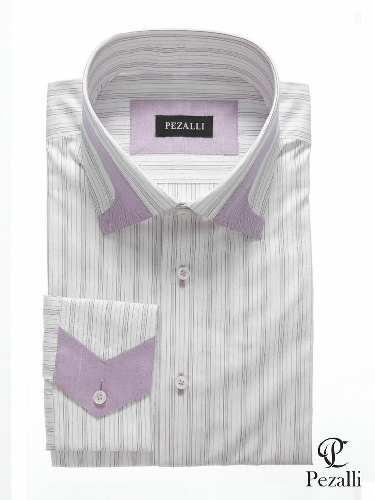 100% Egyptian Cotton shirt in white and lilac stripes with designer collar and cuff. Trims in lilac color.