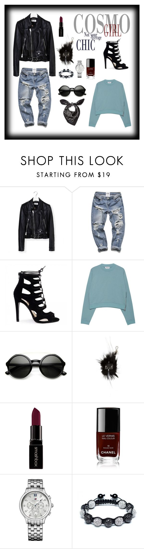 """""""Cosmo Girl - tomboy chic"""" by shop-styleloft on Polyvore featuring Yves Saint Laurent, Acne Studios, Fendi, Smashbox, Chanel, Tommy Hilfiger, Bling Jewelry and Alexander McQueen"""