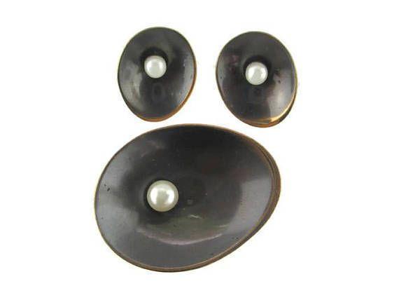 Hogan Bolas Modernist Faux Pearl Brass Bronze/Copper Pin & Screw Back Earrings  #HoganBolas