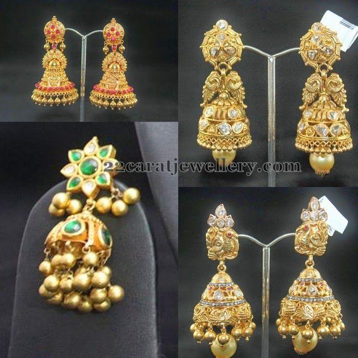 Jewellery Designs: Antique Kundan Jhumkas