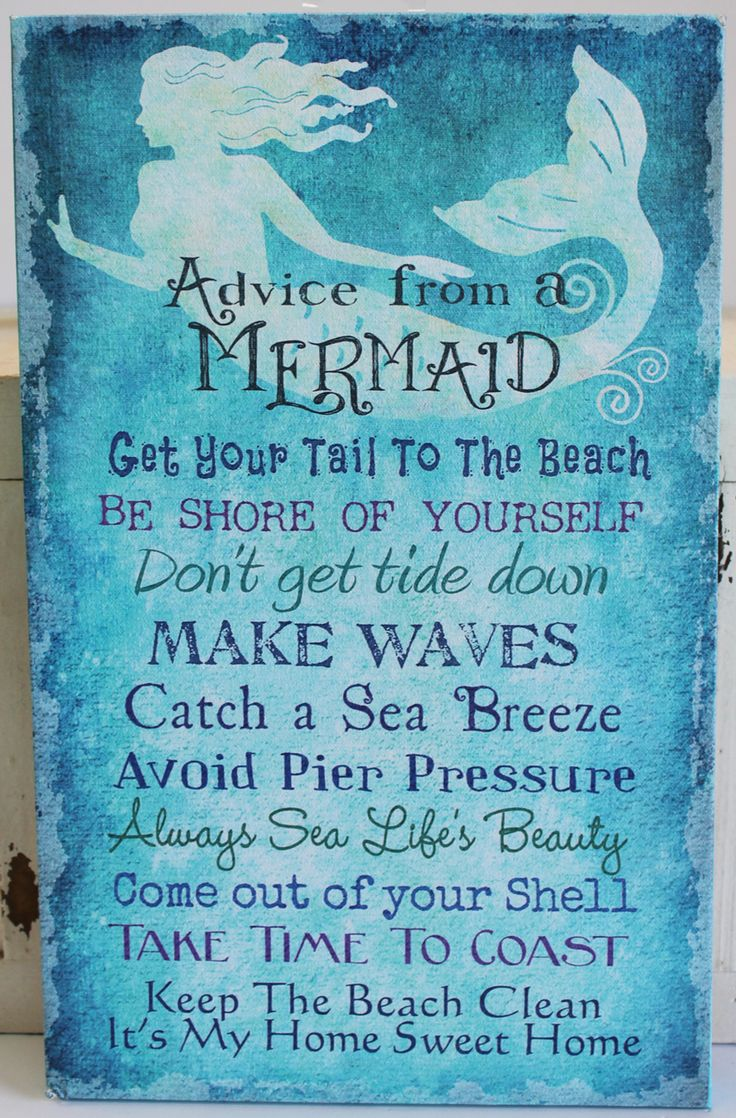 Advice from a Mermaid Canvas - Get Your Tail to the Beach - Keep the Beach Clean - Nautical Wall Decor - California Seashell Company