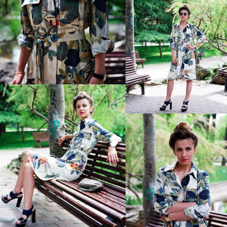 Beautiful #DanaRogoz rocking #LURE S/S2015 printed shirt dress. www.lurestore.eu  #safariprints #shirtdress