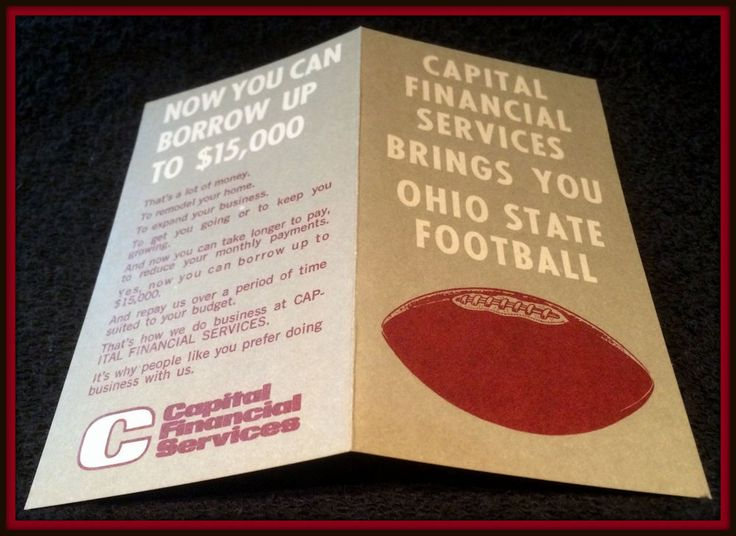 1975 OHIO STATE BUCKEYES CAPITAL FINANCES FOOTBALL POCKET SCHEDULE FREE SHIPPING #Pocket #Schedule