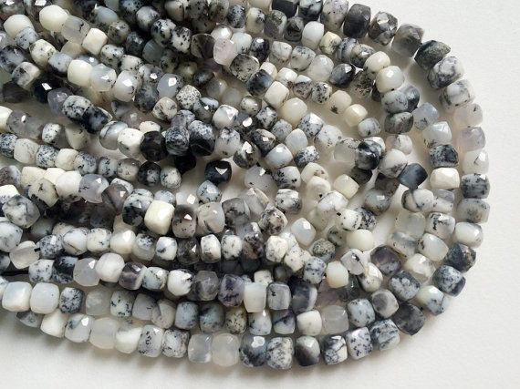 Dendrite Box Beads Dendrite Faceted Cube Beads by gemsforjewels
