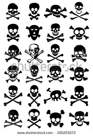 Skulls & Crossbones Vector Collection in White Background - stock vector