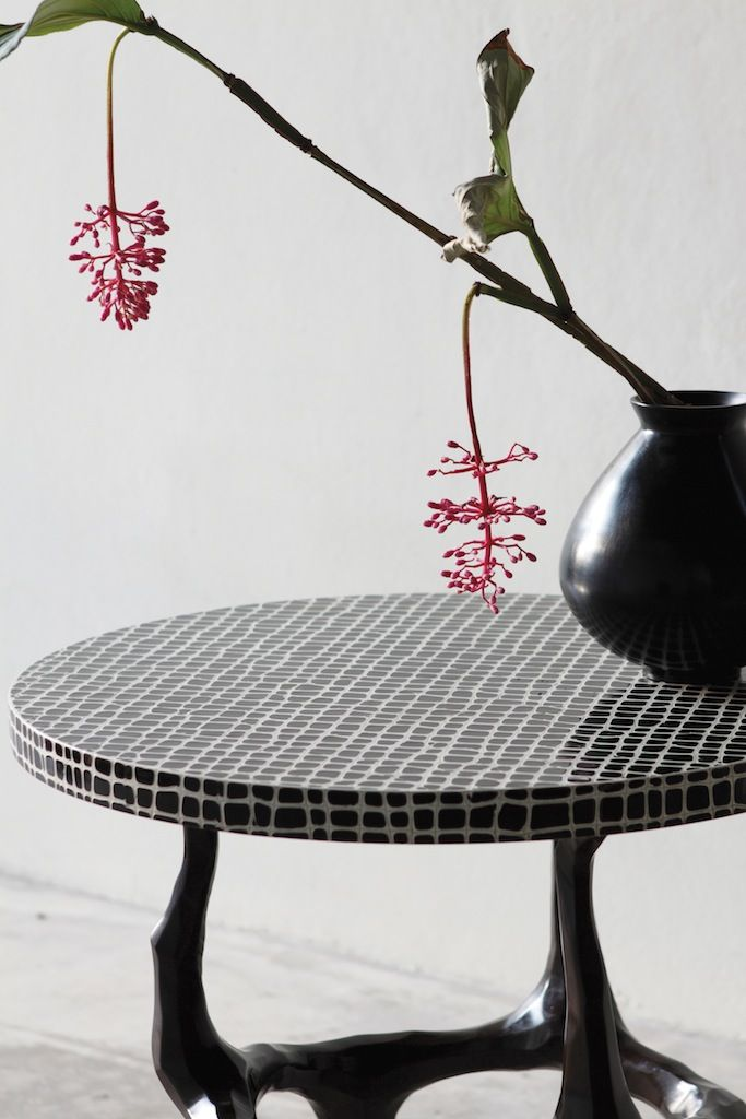Alexander Lamont Amaranth Side Table. Gesso And Cracked Lacquer Surface  With A Bronze Base.