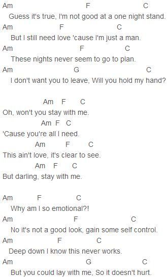Sam Smith - Stay With Me Chords | Instruments/music | Pinterest | Guitar and Sange