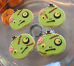 Zombie cookies using a pumpkin cookie cutter!