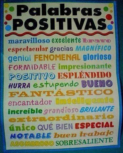 Positive Spanish words: Aprende palabras positivas en español. #Spanish learning #Teaching Spanish #Learning Spanish