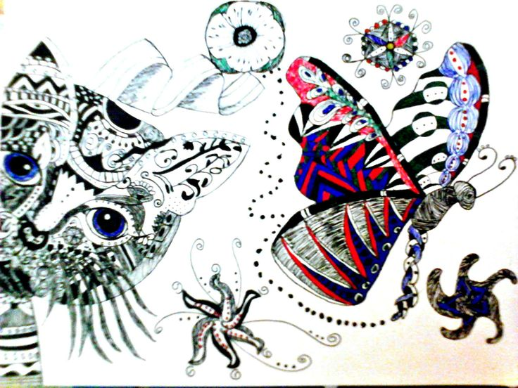 zentangle cat and butterfly