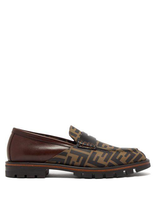 fc4d000a098 FENDI FENDI - LOGO PRINT LEATHER PENNY LOAFERS - MENS - BROWN.  fendi  shoes