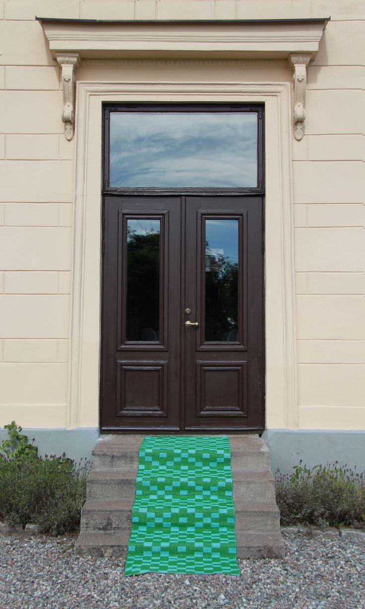 Kelim plastic rug green/blue by toodeloo