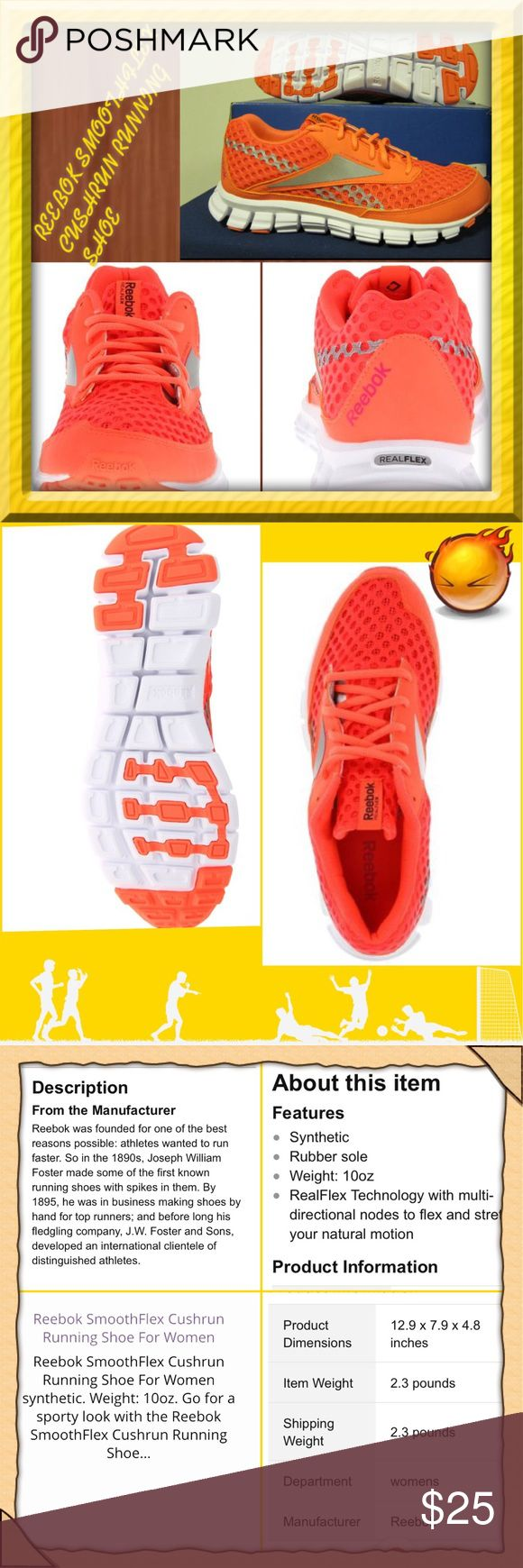 """👟REEBOK Ladies Smoothflex Cushrun running shoe.👟 Reebok running shoe for women. Very lightweight & comfy for running. Those days are over for me, although I do have medals 🎖 for it in the past, you will love these & they are like new! I probably wore them a total of 4-5x's. EUC! Orange mesh material. Description listed in pic #3 above.👆MSRP $69.00. That's what I paid! Very clean! ‼️If you want to know when this listing goes up for sale, click the """"like"""" button‼️ Reebok Shoes Athletic…"""