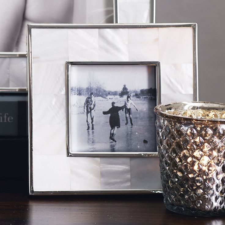 Mother of Pearl Photo Frame 3x3 - White | The White Company