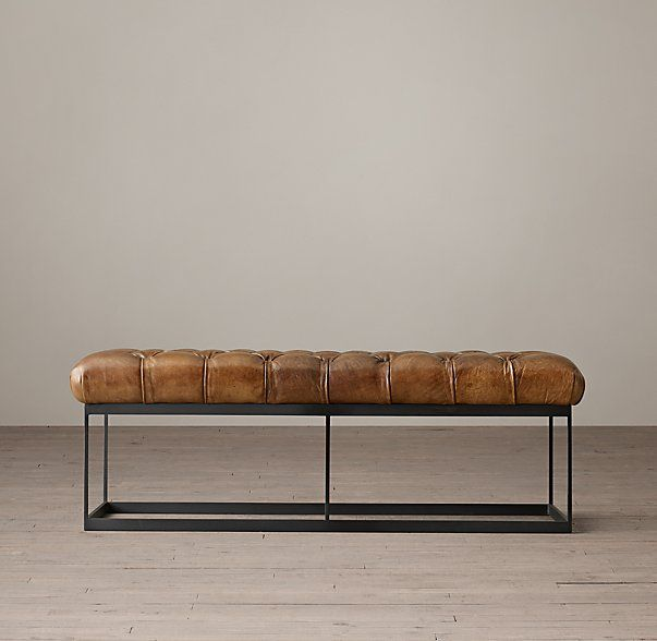 """50"""" TUFTED LEATHER & METAL BENCH $995 Borrowing from mid-century modern sensibility, the rectangular metal frame has a broader dimension in both the apron and base stretcher than the upright supports and is fitted with a tufted leather seat, striking a balance between style and substance – cool linearity and lavish comfort. Such spatial design gives this piece considerable versatility. SHOW DETAILS + DIMENSIONS 50""""W x 20""""D x 16½""""H"""