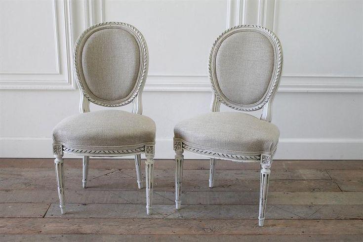 Fine del 19esimo secolo intagliata Luigi XVI sedie laterali da Full Bloom Cottage