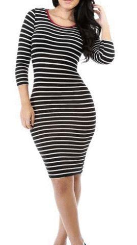 Striped Jersey Midi Dress – Curvy Craves Boutique