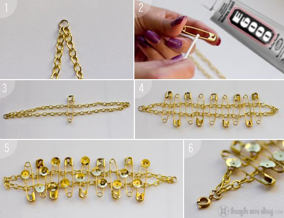 Safety-Pin & Sequins Bracelet DIY  #HIGHonDIY #diyjewelry #jewelry