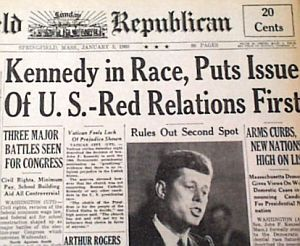 January 4, 1960: The Herald Republican of Springfield, MA, announces JFK's formal entry into Presidential race.