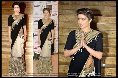Ved Deal's Bollywood Replica Priyanka Chopra Heavy Blue Designer Saree Bollywood Sarees Online on Shimply.com