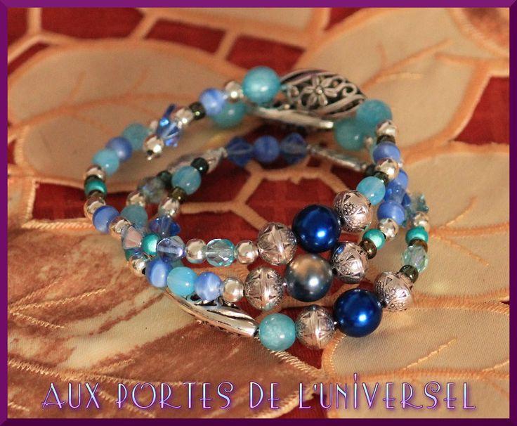 Bracelet à mémoire de forme, 3 tours, dégradé de bleus : Bracelet par portes-universel