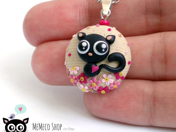 Polymer Clay Pendant Necklace Black Cat by MemecoShop on Etsy