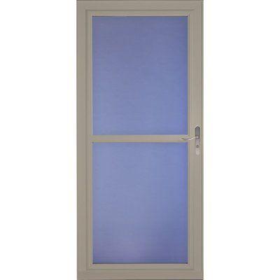 LARSON 34-in x 81-in Sandstone Tradewinds Full-View Tempered Glass Storm Door