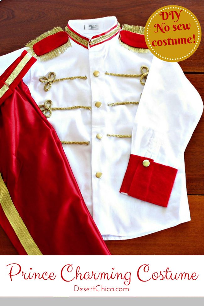 DIY and No Sew Prince Charming Costume tutorial is the perfect idea to pair with princess halloween costumes.