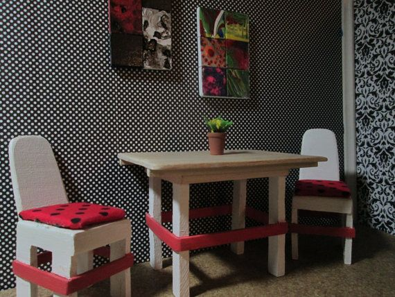 Dollhouse dinning room table with two chairs, wood dinning room set, polka dot dinning room chairs, miniature dinning room set