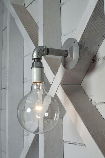 $55   Industrial Wall Sconce Light - Bare Bulb Pipe Lamp - Industrial Light Electric - 1