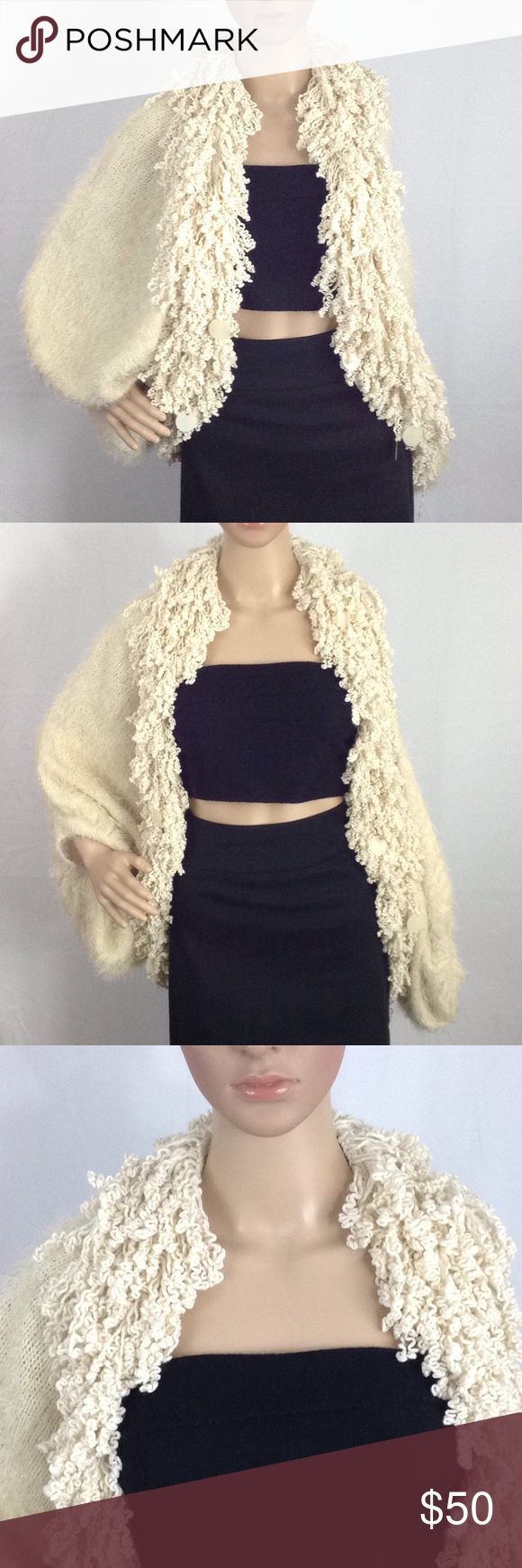 """""""Fuzzy Pop"""" Shrug Shawl Poncho M/L Fun & Cozy Open Shawl Cardigan w/ short peek a boo Sleeves in a M/L. ▫️Boutique Bought ▫️Ryu designer w/ tags attached ▫️Super fuzzy, cozy & chic ▫️100% Acrylic ▫️Dry Clean Only ▫️M/L ▫️Great condition ▫️No smoking Ryu : Sweaters Shrugs & Ponchos"""