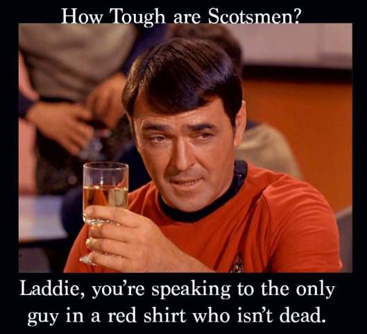 "LOL. That always distracts me when I watch Star Trek. ""But he has a red shirt...he has to DIE!"""