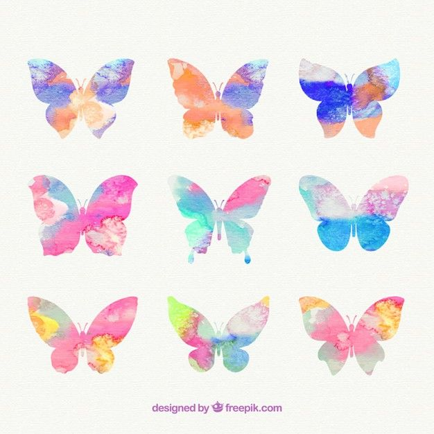 Free vector Hand painted butterflies #2309
