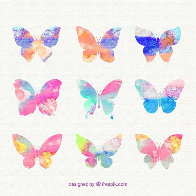 Free vector Hand painted butterflies #2309