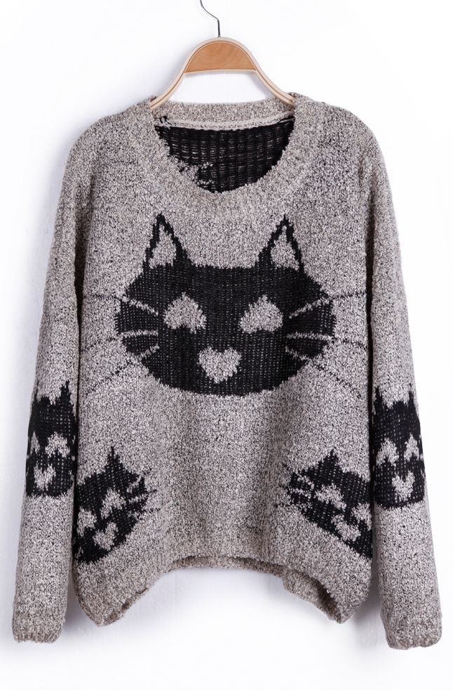 Grey Heart Cat Pattern Oversized Pullover Sweater - WANTWANTWANT.