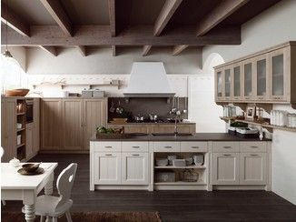 Rustic style kitchen with peninsula TABIÀ T01