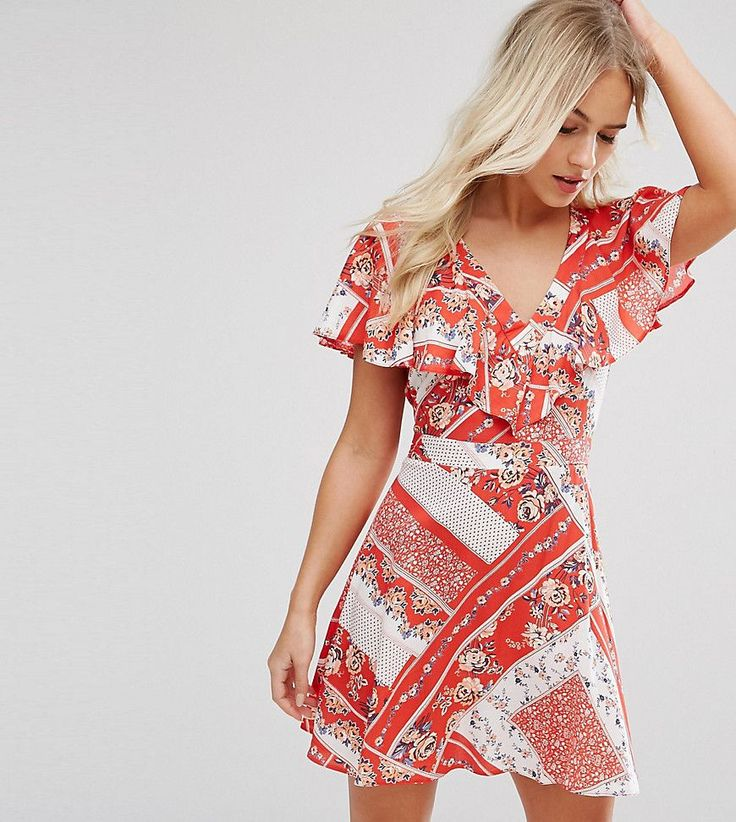 Get this Miss Selfridge Petite's casual dress now! Click for more details. Worldwide shipping. Miss Selfridge Petite Floral Printed Wrap Tea Dress - Red: Petite dress by Miss Selfridge Petite, Lightweight stretch fabric, All-over floral print, V-neck, Wrap front, Frill overlay, Tie-back belt, Regular fit - true to size, Machine wash, 91% Nylon, 9% Elastane, Our model wears a UK 8/EU 36/US 4 and is 162.5cm/5'4 tall. Miss Selfridge takes you from day to date night with its off-duty looks and…