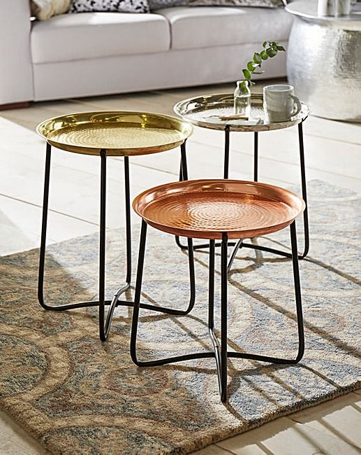 Handcrafted Hammered Set Of Three Side Tables Tray Table Tops Are Removable And Come In A Gold Silver Bronze Finish Ad
