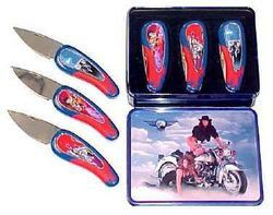 SALE 3 pc Set Motorcycle Collector Knives KFK246M3T
