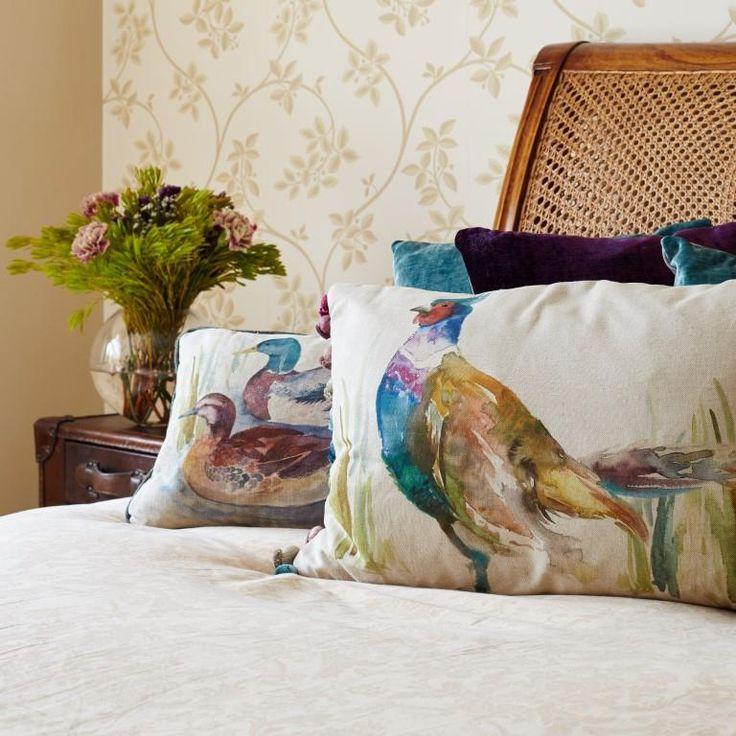 Voyage Maison Ring Neck Pheasant Cushion. Available at www.thegreatbritishhome.com #voyagemaison #thegreatbritishhome #cushion #homedecor #madeinbritain #pheasantcushion #pheasant #watercolourcushion #countrystyle