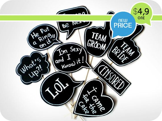 Photobooth Props - Wedding Signs with TEXT - Mix of small signs on sticks - Set of 9 photobooth signs