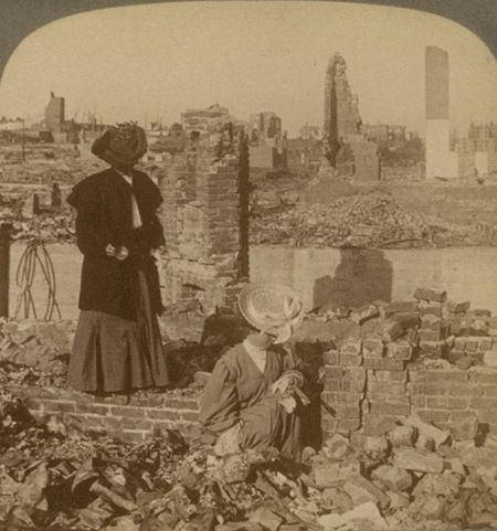 Two women going through the rubble following the 1906 San Francisco earthquake