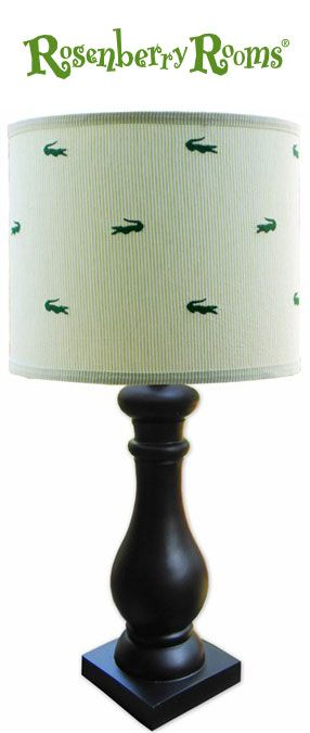 Make a preppy statement in your boy's room with the Seersucker Alligator Lamp Shade from Doodlefish Kids!   This adorable lamp shade features a classic green seersucker print with the cutest little green alligators