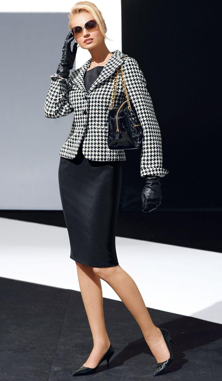 black and white houndstooth blazer black pencil skirt