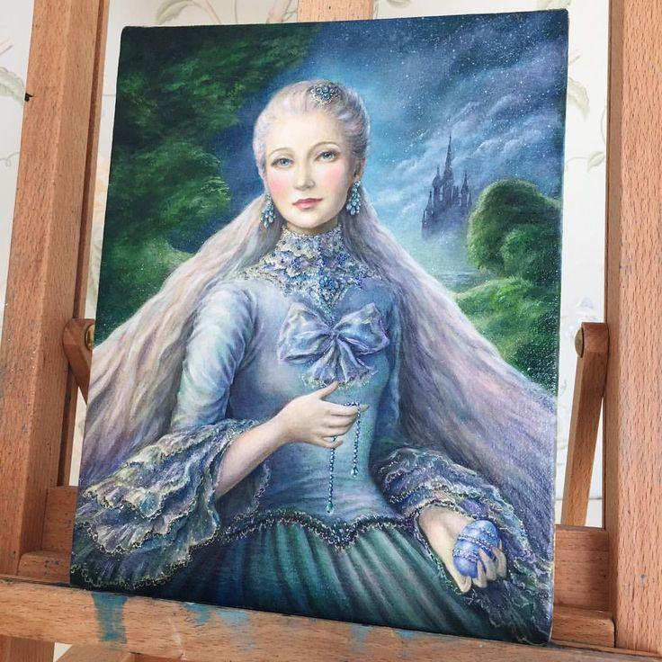 """Eeva Nikunen (@eevanikunen) on Instagram: """"'Lady Siniy', oil on Belgian linen canvas board. ✨ This painting was inspired by my recent trip to…"""""""