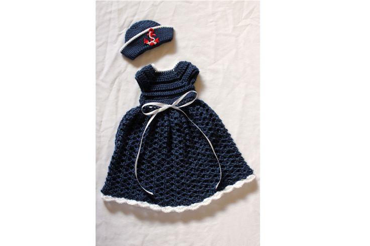 Baby Girl Sailor Dress Set - Crochet Navy Dress & Sailor Hat set - Baby Girl Dress - Baby Nautical Dress - Newborn Photo Prop - Summer Dress