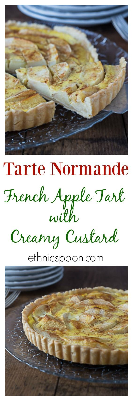 """One the most delicious apple tarts I have ever eaten! A rustic traditional dish from the northern part of France in the region of Normandy. The tarte Normande uses large slices of apple and a rich creamy custard. Some of the best cheeses come from the region as well. The use of the word """"Normande"""" usually implies a dish has cream in it. You will love this tart!   ethnicspoon.com"""