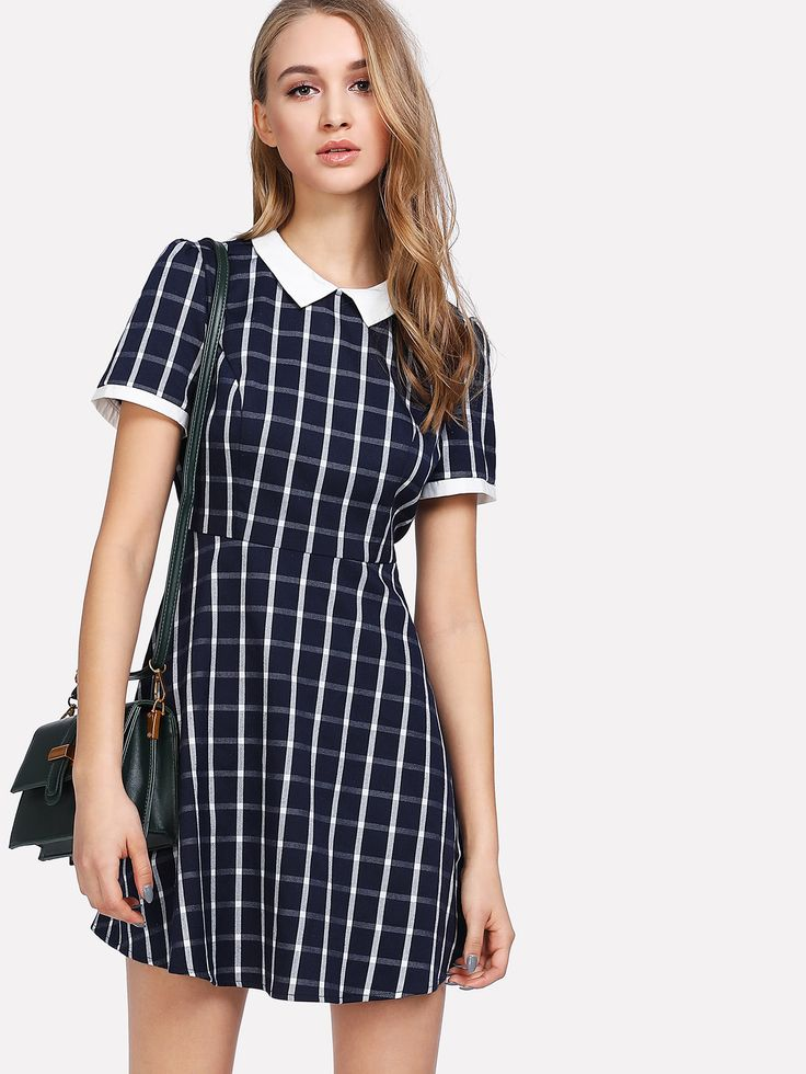 Shop Contrast Collar Plaid Fitted & Flared Dress online. SheIn offers Contrast Collar Plaid Fitted & Flared Dress & more to fit your fashionable needs.